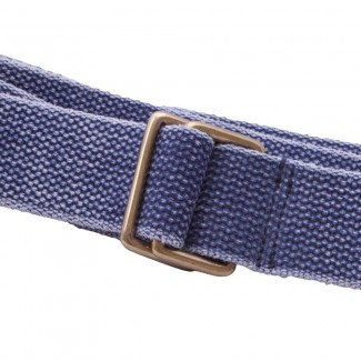 MR Washed Blue Webbing Square Ring Belt with Leather Tab