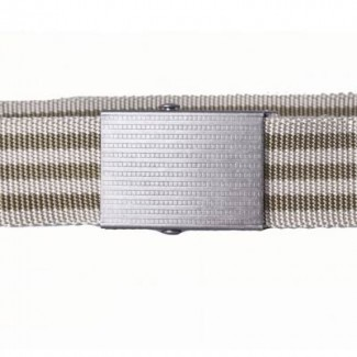olive drab and tan striped nylon webbing belt