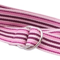 Pink striped webbing d ring belt