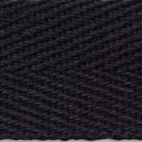 Black herringbone cotton tape webbing