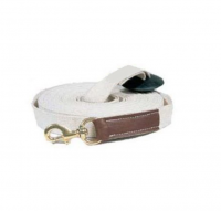 26ft. Top quality cotton webbing with rubber end stop and brass snap with 4 inch bonded leather tab at snap
