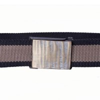 Black and taupe nylon webbing belt