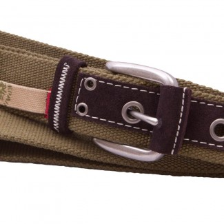 Olive Webbing Belt with Suede Strip