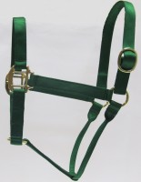 HH Green Nylon Halter with Shiny Brass Plated Hardware