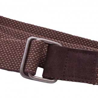 Brown Webbing and Leather D Ring Belt